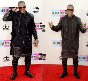 R. Kelly wearing a layered skirt at the American Music Awards